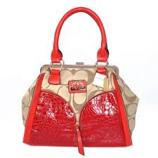 Coach Madison Carrie Embossed Medium Red Satchels ADC
