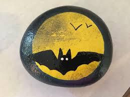 bat moon painted rock
