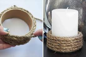 DIY Elegant Rope Wrapped Candle Holder: