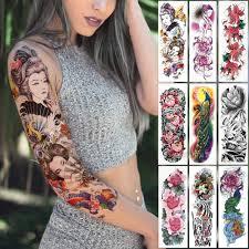 большие татуировки на руку японская гейша змея водонепроницаемый