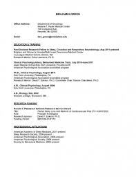 Sample Psychology Resume Clinical Psychology Cv Sample