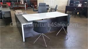 chiarezza executive split level l shaped white glass top glitzy glass executive desk