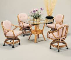 swiverl tilt caster chairs table base and 42 inch round glass top