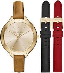 women s michael kors runway interchangeable leather strap watch set mk2606 loading zoom