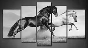 running horses black and white. Delighful White Amazoncom 5 Panel Wall Art Black Friesian Running Horse Trot On The Field  Sunset Grass And Flower Painting Pictures Print Canvas Animal Picture  For Horses White I