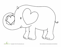 Small Picture Valentines Day Elephant Coloring Page Worksheets Craft and