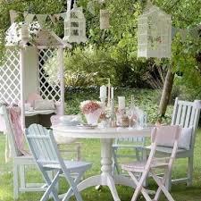 painted garden furniture tea party