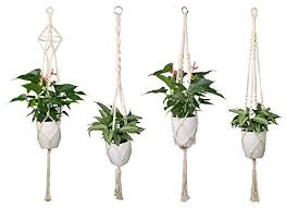 luxbon 4pcs macrame plant hanger handmade woven cotton plant holder wall hanging planter basket for indoor outdoor garden patio balcony ceiling decorations