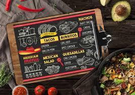 mexican food menu design. Brilliant Menu Chalkboard Mexican Menu Design Throughout Food N