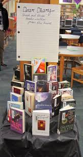 Dear Diary library book display. Books written in 1st person perspective,  most are in