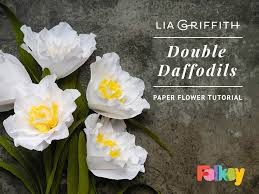 Daffodil Paper Flower Pattern Paper Flower Tutorial Double Daffodils By Lia Griffith