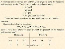 a chemical equation may also tell you what physical state the reactants and s are in
