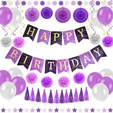 Amazon Com Purple Happy Birthday Party Decorations Supplies Set