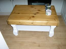 sold pine coffee table refinished with little green white eggshell and briwax