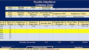 Excel Employee Time Sheet Download Weekly Timesheet Excel Template Exceldatapro