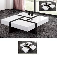 nova extendable high gloss coffee table in white with storage