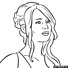 Small Picture Jennifer Lawrence Coloring Page HUNGER GAMES Pinterest