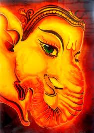 lord ganesha glass painting