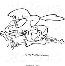 Small Picture Vector of a Cartoon Rugby Girl Running with a Ball Outlined