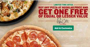 today only you can use this papa john s to any pizza at regular menu and get a second pizza of equal or