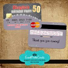 Credit Card Party Invitations 50 Birthday Party Invitations Credit Card