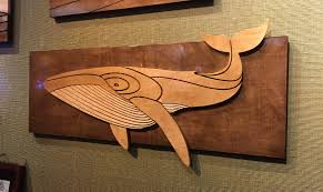 whale humpback whale art stained wood wall sculpture