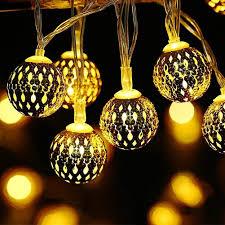 Golden Power Lights Usb Power Led String Light 10 Feet 20 Leds Metal Golden Moroccan Globe Fairy Light