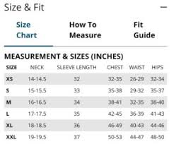 Winter Jacket Size Chart Winter Jackets For Members Only