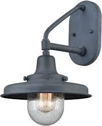 elk 57162 1 vinton station retro aged zinc exterior wall sconce lighting elk 57162 1