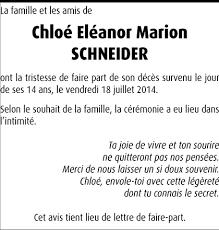 Hommages - Pour que son souvenir demeure: Chloé Eléanor Marion SCHNEIDER