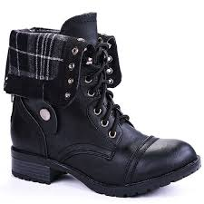 women military combat foldable cuff faux leather plaid quilted back zipper lace up boots