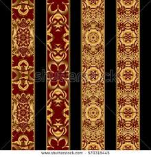 four vertical elements for old book golden and red ornaments on a black background for