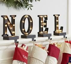 Lit Bronze Word Stocking Holder - NOEL