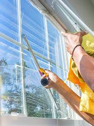 a pane in the glass window cleaning