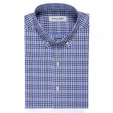 Button Down Dress Shirt Railroad Check Tailored 16 5