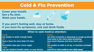 Cold Symptoms Vs Flu Symptoms Chart Cold Flu Prevention Center For Health Education Wellness