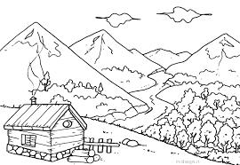 Nuovo Le Immaginid Un Paese In Montagnada Disegnare E Colorare