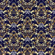Blue And Gold Design Royal Baroque Seamless Pattern Vector Dark Blue Floral Background