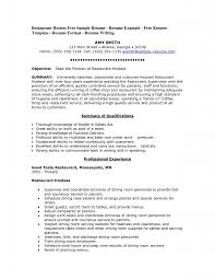 Resume Objective For Waitress Resume For Restaurant Waitress Restaurant Waiter Resume Sample 15