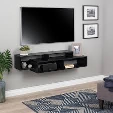 prepac modern black wall mounted media