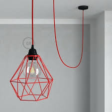 diamond pendant light black cage lamp with red rayon
