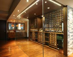 wine room lighting. Minimalist Medium Tone Wood Floor And Yellow Wine Cellar Photo In  Toronto With Storage Racks Room Lighting