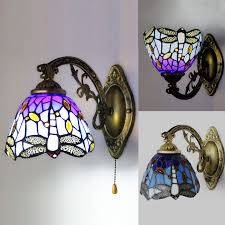 image is loading baroque tiffany style wall lamp blue stained glass