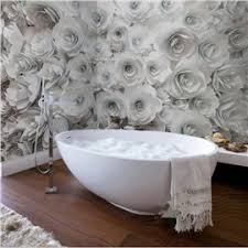 61 white romantic roses pattern design decorative waterproof 3d bathroom wall murals on decorative modern wall art with contemporary modern wall art d cor online sale for any room and