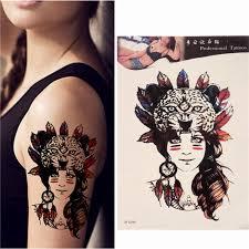 Vodotěsné Dočasné Tetování Tribal Dívka Těla Rameno Leg Art Sticker Odnímatelné