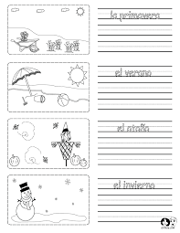 Printable worksheet on the seasons in Spanish with pictures to color ...