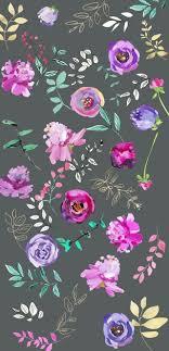 purple floral print on grey background