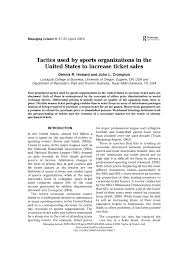 Pdf Tactics Used By Sports Organizations In The United States To
