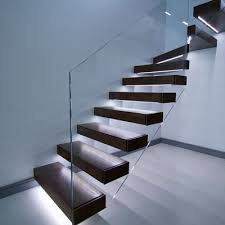 Floating Stairs In Dark Finish Led Lights Under Each Tread With Floating  Stairs