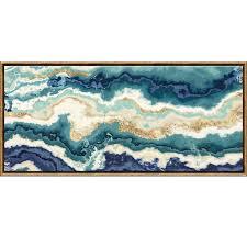 54x24 teal indigo agate framed canvas